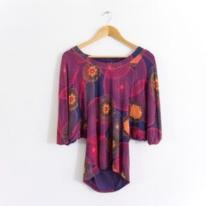Anthropologie One September Abstract Colorful Top